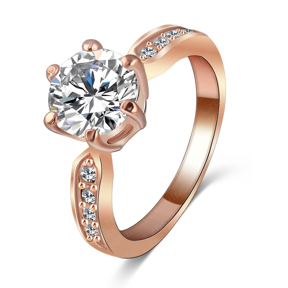 Kate Princess Wedding Rings 18K Rose Gold/Platinum Plated Clear Zircon Womens Fashion Jewellery Ring Ri-HQ1053(China (Mainland))