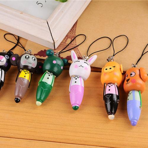 Cute Wooden Cartoon Animal Head Ballpoint Pen KeyChain Mobile Chain BallPen(China (Mainland))