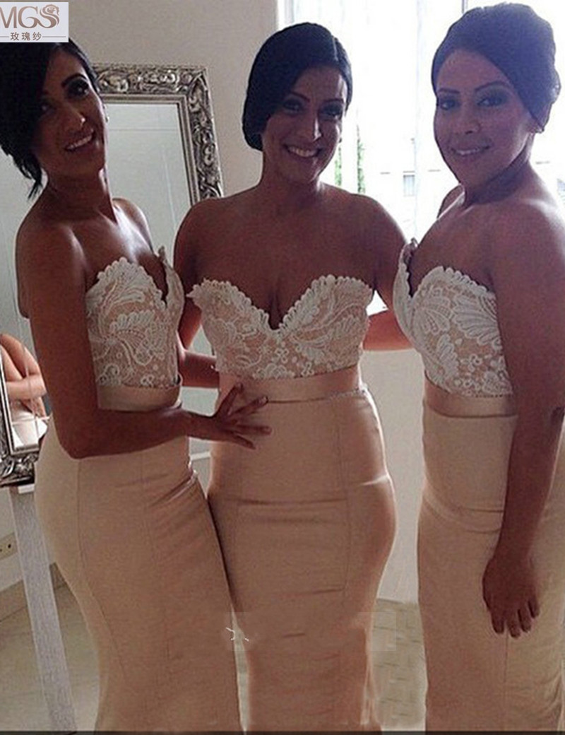 Sexy Hot Selling 2016 MGS Mermaid Sweetheart Appliqued Lace Top Bridesmaid Dresses Floor-Length Women Wedding Bridal Party Gown(China (Mainland))