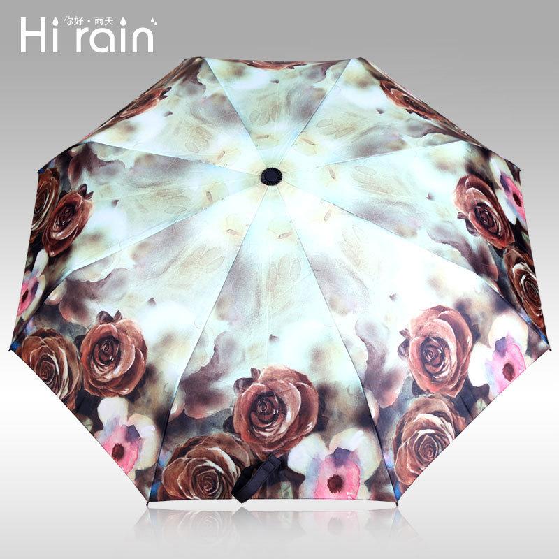 new authentic rose thirty percent fiber umbrella ultralight creative personality Famous Van Gogh painting women rain umbrella(China (Mainland))