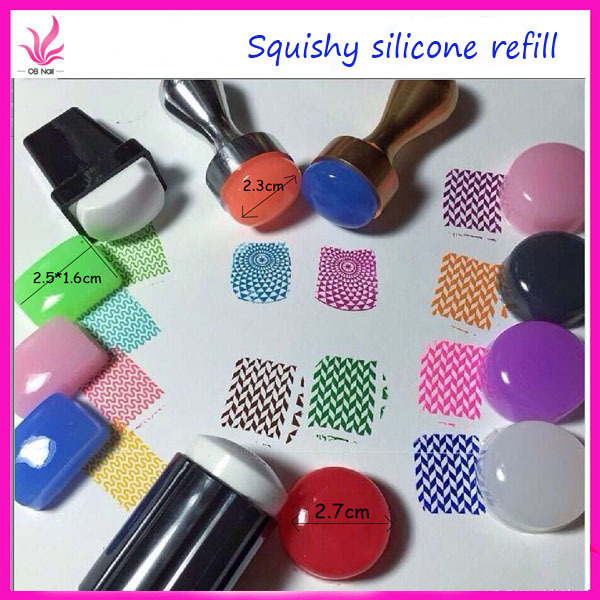 2015 New Stamper 3 Size Plug Marshmallow Candy Refill Squishy Silicone Stamper Head Soft Nail Stamp(China (Mainland))