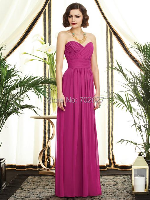 2016 A Line Bridesmaid Dresses Fuchsia Chiffon Sweetheart Sleeveless Backless Zipper Pleats Floor Length Formal Prom Dress Dessy(China (Mainland))