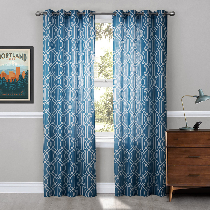 modern curtain printed blue geometric window curtains living room