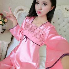 2015 spring and autumn short sleeved long sleeved silk pajamas suit ladies pajamas silk font b