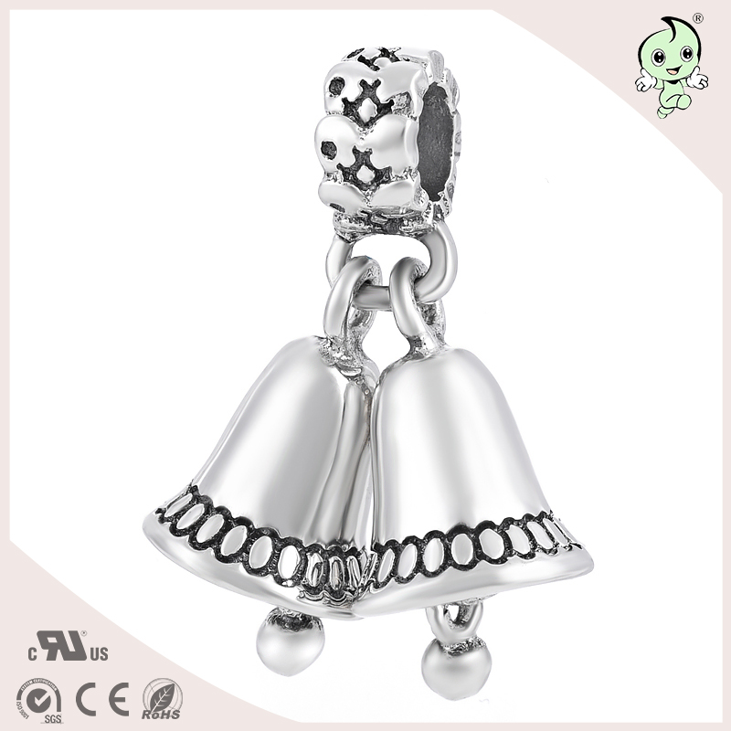 Hot Sale Small Double Bell Design S925 Sterling Silver Bracelet Pendant Charm(China (Mainland))