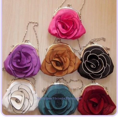 10PCS Elegant PU Flower ; Lady Women's Clip Handbag Wrist BAG ; Coin Bag & Purse & Wallet Pouch Cosmetics & Beauty(China (Mainland))
