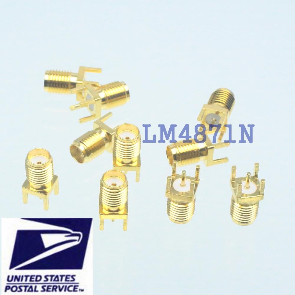 10pcs Connector SMA female jack solder PCB mount straight 5.08mm(China (Mainland))