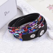 Kejialai женские кожаные браслеты двойная круглая обертка браслеты с горным хрусталем многослойный женский браслет Мода Jeweley KJL005(China)