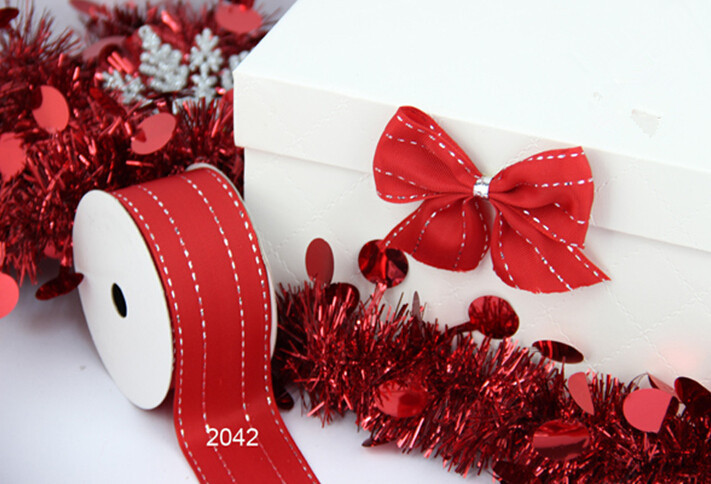 Silver Stitches red grosgrain gift wrapping wired edge ribbon 25yards roll(China (Mainland))