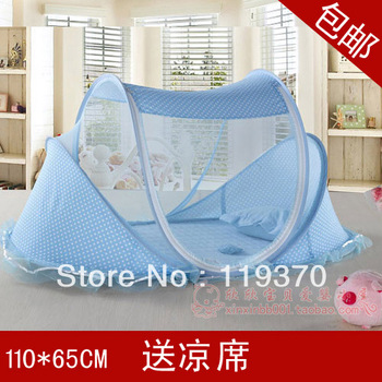 Polka Dot lace folding baby bed mosquito with music three pieces set includes a mattress and pillow a45-1.35