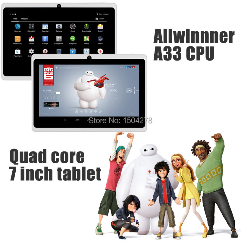 7 inch Tablet Allwinner A33 Quad Core Android 4.4 OS Tablet 1GB RAM + 8GB ROM Dual Camera Q88 Cheap Tablet PC Free NL Post(China (Mainland))