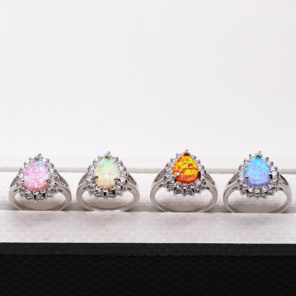 Hot Sell!Drop Pink Opal Ring 2015 Fashion Jewelry 18K Gold Filled White Crystal Sapphire Charm Woman Rings Cute Gift