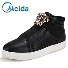 Men Casual Shoes 2015 Winter Thick Warm Slip On Wedges Classic Canvas Shoes Height Increasing Brand Leather Driving Flat Boots