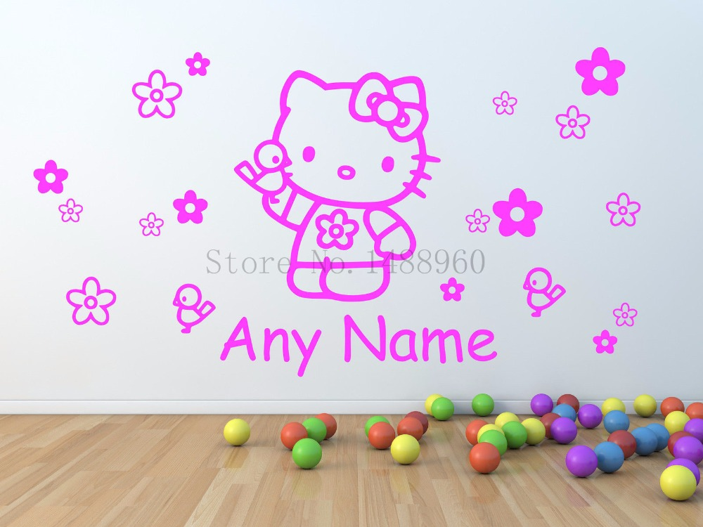 Hello Kitty Personalised Wall Stickers for girls Wall Decal Vinyl wall sticker for kids room decoration(China (Mainland))