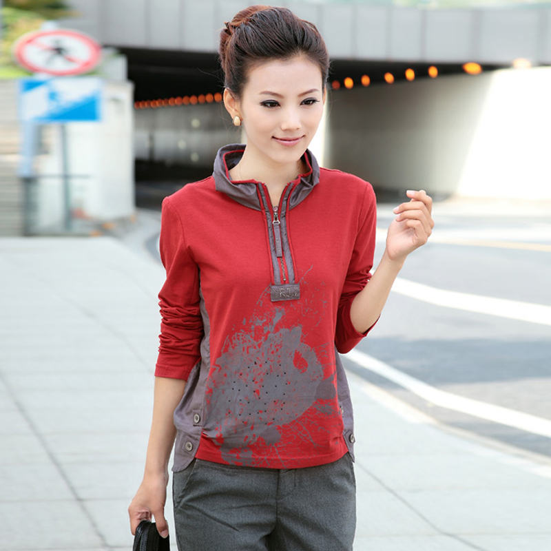 2013 female autumn mother clothing plus size mm stand collar long-sleeve T-shirtОдежда и ак�е��уары<br><br><br>Aliexpress