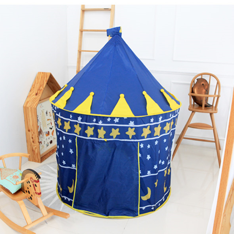 New Arrival Portable Blue Pink Prince Folding Tent Kids Children Boy Castle Princess Cubby Play House For Kids Best Gift(China (Mainland))