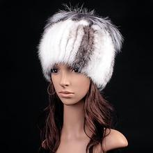 Russia winter hats for women genuine mink fur hat with whole silver fox fur top 2015 fashion elegant beanies high-end female cap