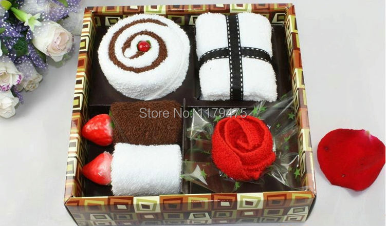 1 Set Cotton Blend Business Style Gift Box Towel Cake Towel Wedding Christmas Presents Gifts Favors Home Decor(China (Mainland))