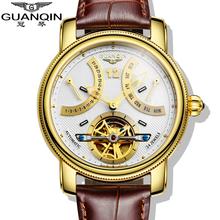 2016 Luxury Brand GUANQIN Automatic Mechanical Watches Men Waterproof Luminous Tourbillon Watch Calendar Leather Gold Wristwatch(China (Mainland))