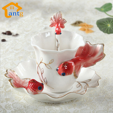 Goldfish Enamel Coffee Cup Porcelain mugs and cups suit creative wedding present ceramic cup European bone china cup(China (Mainland))