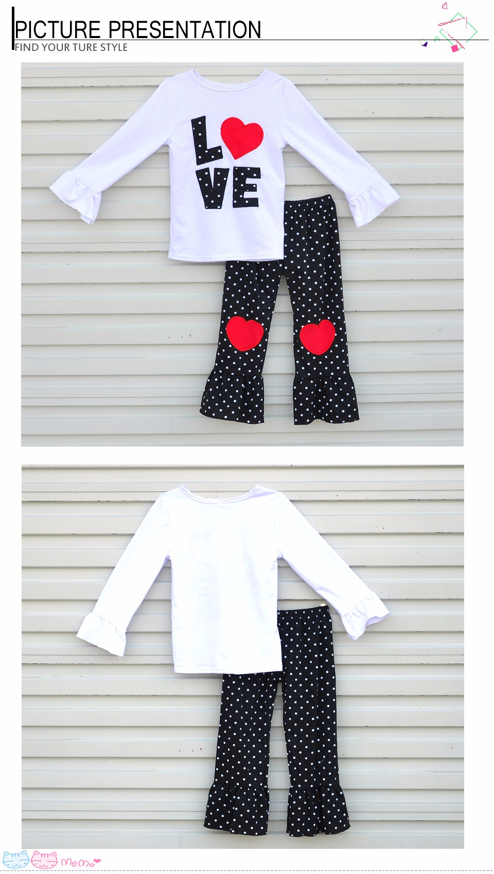 High Quality Girl Clothes White Letters Printing Round Neck Long Sleeve T-Shirt + Dot Heart Decoration Pants Kids Clothing AA