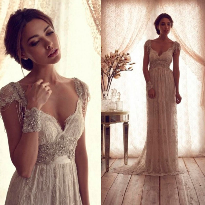 Hot Salling Vestido De Novia 2016 Vintage Wedding Dress Sheer Lace Anna Campbell Bridal Gown Lace Backless Church Wedding Gown(China (Mainland))