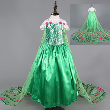 Fever dress green elsa Costume Girls party Dress summer Princess Children clothing disfraz vestidos elsa de festa meninas vestir