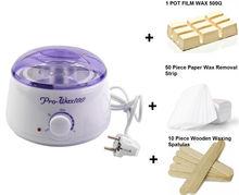 Kit de depilación, incluye: 500ml de parafina, calentador de cera, espátulas de madera y 50 tiras de remoción