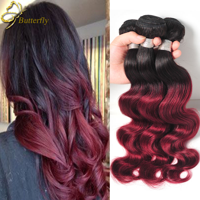 Queen Brazilian Virgin Hair Burgundy Bundles Alibaba Express Ombre Body Wave Hair Color 99j tissage bresilienne humain Ali Queen(China (Mainland))