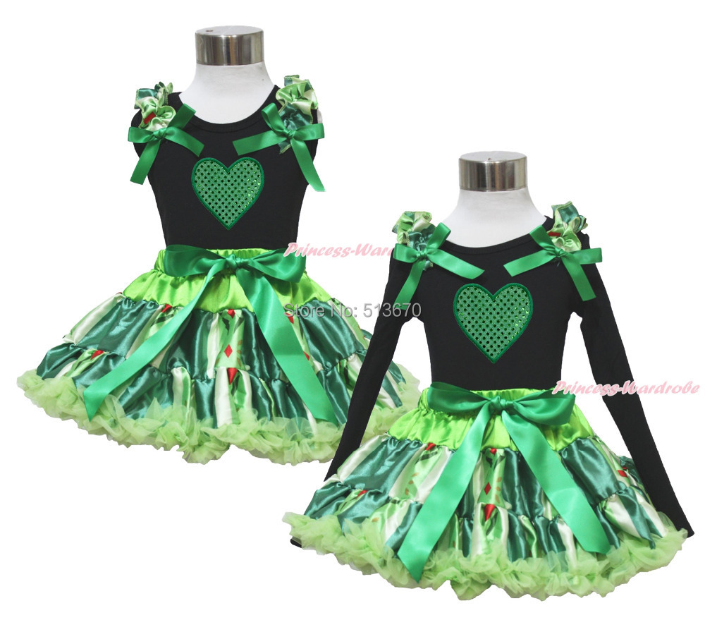 Valentine's Day Green Heart Black Top Anna Coronation Pettiskirt Outfit Set 1-8Y MAPSA0339(Hong Kong)
