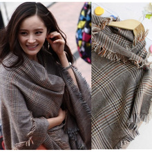 autumn/winter imitation cashmere plaid scarf tartan woman long tassels super luxury scarf warp shawl hijab cachecolW1028