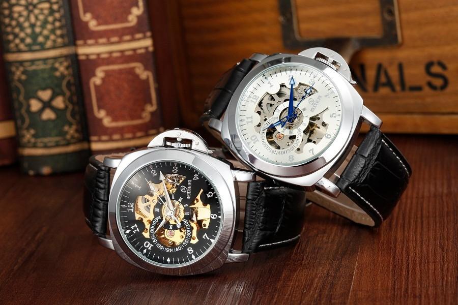 GOER марка мода мужская автоматические часы механические водонепроницаемый спорт Световой Скелет наручные часы Мужской кожи