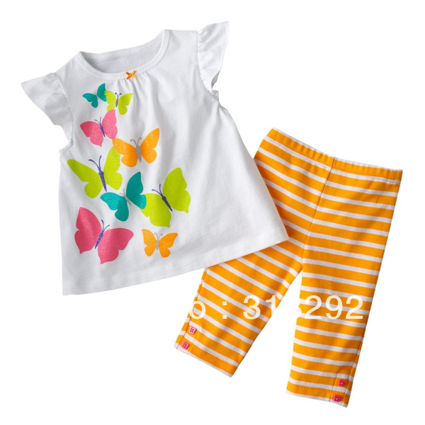 JTS31, Butterfly, 6sets/lot, Baby/Children clothing set, 100% Cotton short sleeve T shirt + shorts sets, pajamas for 1-5 year.<br><br>Aliexpress