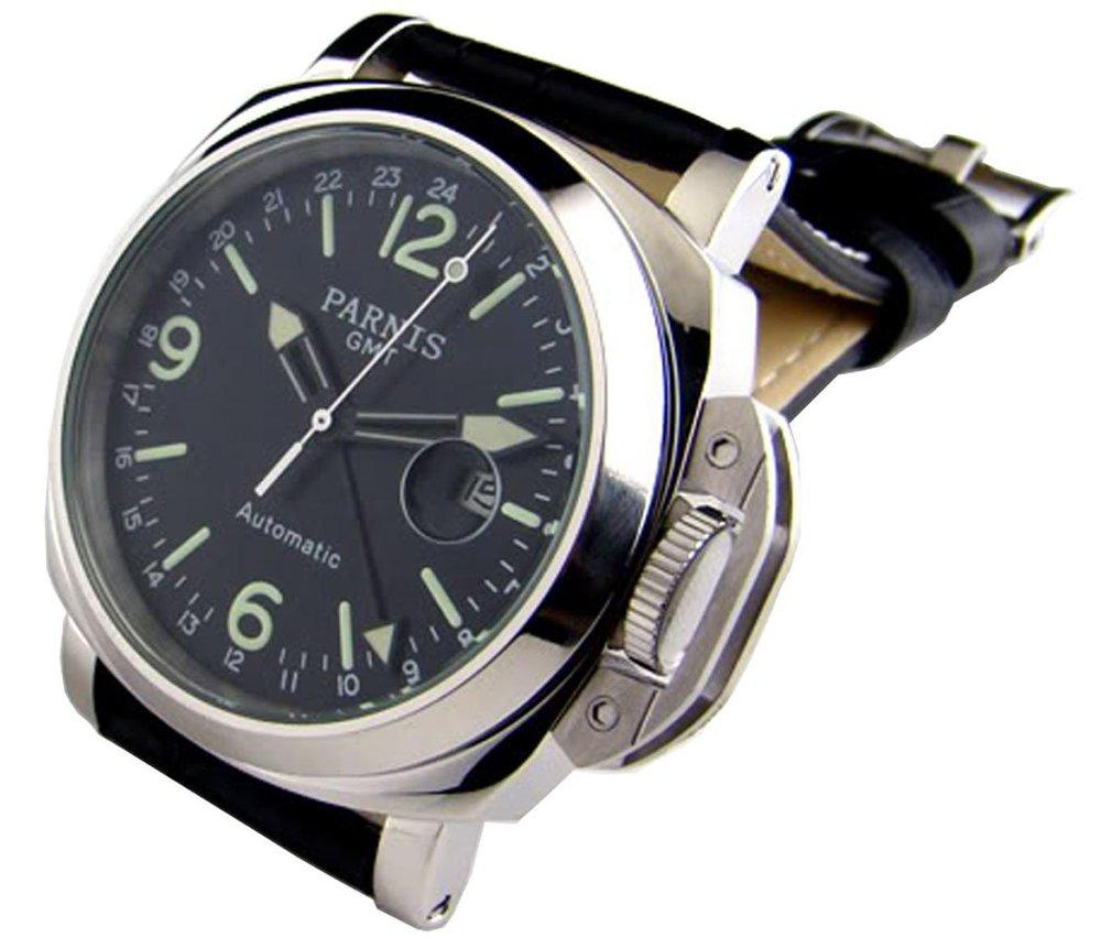 Parnis 44mm GMT Black Dial Luminous Men's Women's Automatic Mechanical Calendar Wrist Watch - parnis store