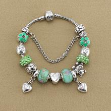 Tibetan Sterling Silver Jewelry Teddy Bear Charm Bracelets& Bangles Heart Pendant wholesale fit Pandora bracelet free shipping(China (Mainland))