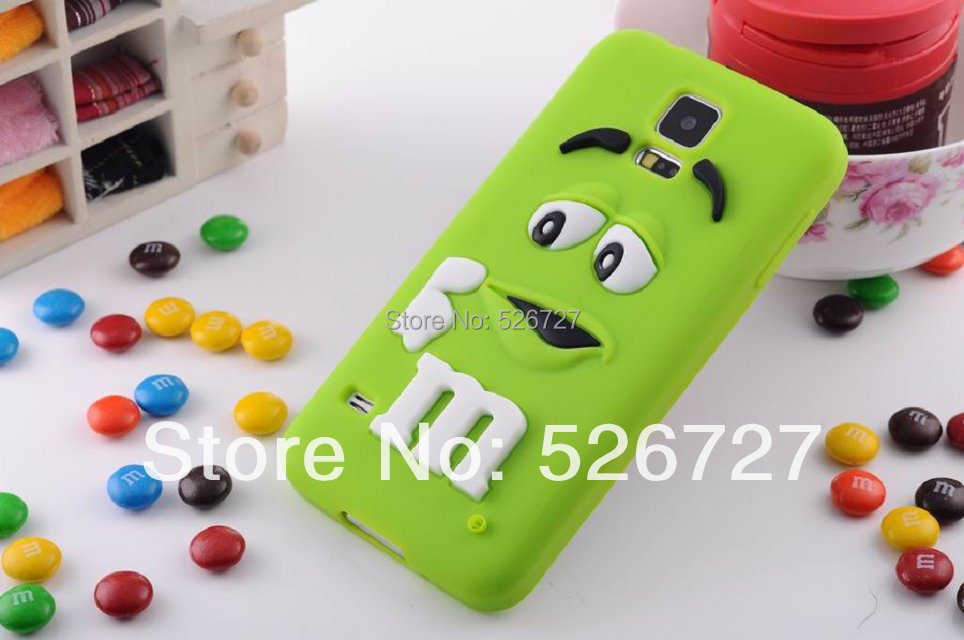 2014 New 3D Lovely MM Fragrance Chocolate Beans Soft Silicone Case M Rainbow Beans Rubber Case Cover For Samsung Galaxy S5 i9600(China (Mainland))