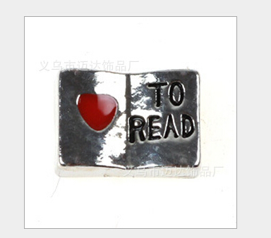 Floating lockets charm Love to Read Fit floating charm lockets high quality  4Z1116(China (Mainland))