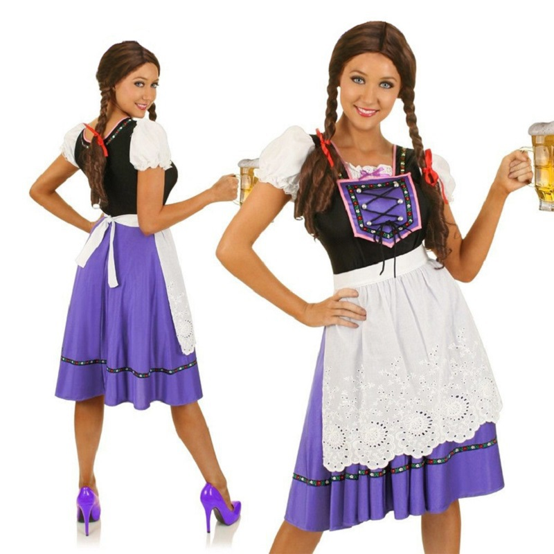 Purple Lady Oktoberfest Fancy Dress Adult Classical Dirndl German Bavarian Beer Maid Girl Cosplay Halloween Wench Women Costumes(China (Mainland))