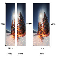 2019 Christmas Decoration For Home 3D Door Stickers PVC Art Mural Wallpaper Self-Adhesive Cartoon Landscape Tree Decals Navada(China)