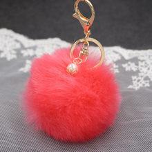 Big Faux Pérola Bola de Pêlo de Coelho Bolsa Chaveiro Anel Clef Porte de Pelúcia Artificial Fur PomPom Chaveiro Ornamento Pom Pom pingente(China)
