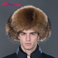 Huge Mens Bomber Hats and Caps Ear Protection Beanies Warm Winter Snow Cap Real Fox Fur