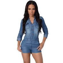 2016 Rushed Jeans For Women Station Europe Fashion Classic Single Breasted Denim Shirt Pants Jumpsuit Unique Swing Rule 64040