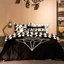Geometry Reactive Black And White Cotton Bedding Set Luxury Queen Size Duvet Cover Set Bed Linen Sheet Bedclothes Sets(China (Mainland))