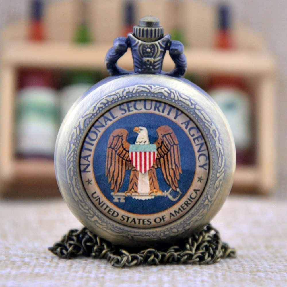 New Arrivals National Security Agency United States Of America Glass Dome Design Quartz Pocket Watch Necklace Men Women Watch(China (Mainland))