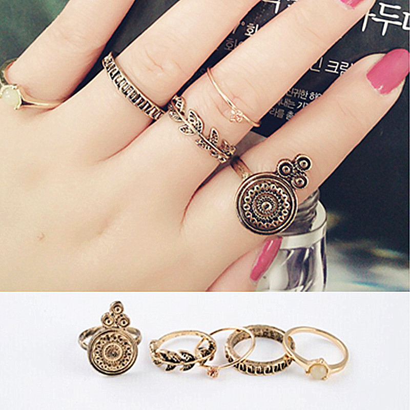 4Pcs/set Punk Retro Personality leave crystal flower Rings Band Knuckle Ring Set JZ-274(China (Mainland))