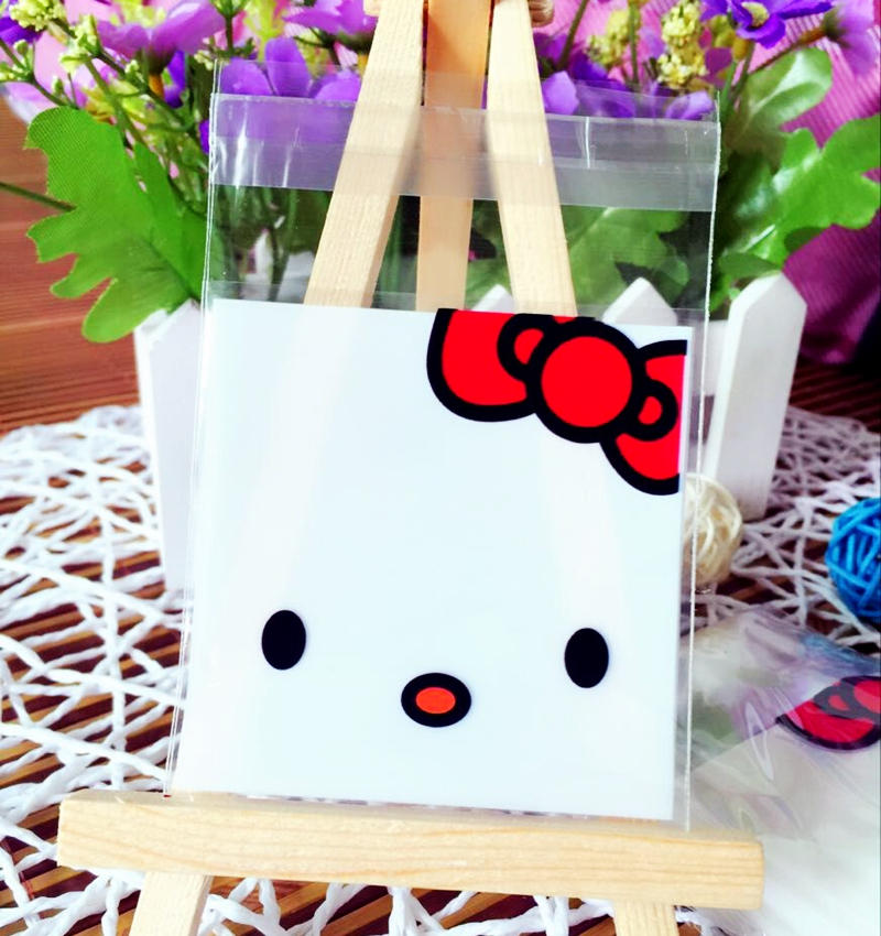 New Style Baking Package bag Hello Kitty Resealable bag Sample Bag Cake/Bread/Candy Food Bag 7*7+3cm 100pcs(China (Mainland))