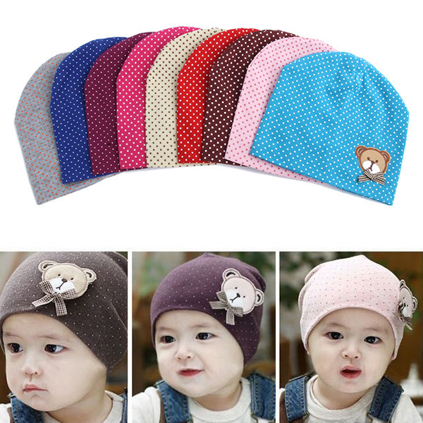 Fashion Baby Unisex Boys Girls Dot Beanie Hat Chic Kids Infant Free Shipping & Drop Shipping(China (Mainland))