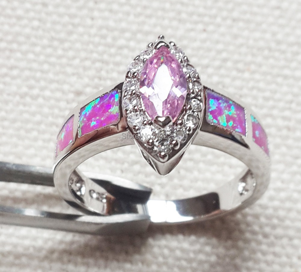 Nice pink fire opal ring jewelry for lady's gift(China (Mainland))