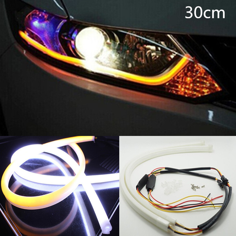 2xled 30cm 12W White+Yellow Flexible drl Switchback Strip led Daytime Running Lights Wit