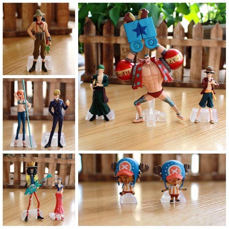 Free Shipping Anime One Piece Luffy Nami Roronoa Zoro Chopper Usopp Brook Figure Toys PVC Collectable Model Doll 10Pcs/set(China (Mainland))